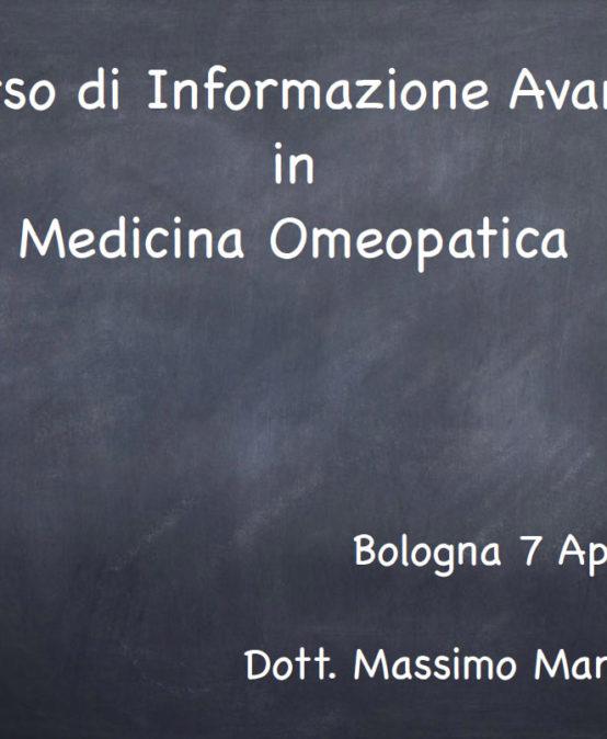 """(Italiano) Bologna: """"Informazione Avanzata in Medicina Omeopatica"""""""